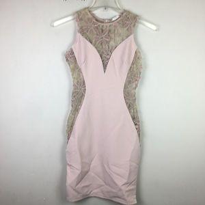 Qutt blush pink embroidered bodycon mini  dress